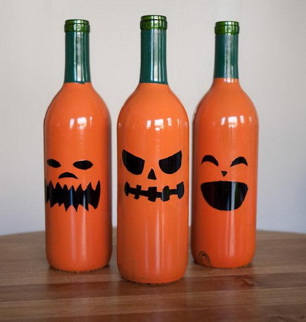 Halloween + Drinking = Wine Bottle Jack O Lanterns!