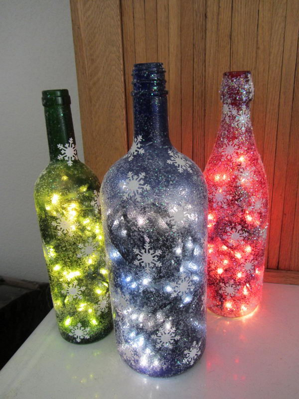 80 homemade wine bottle crafts hative for Christmas bottle decorations