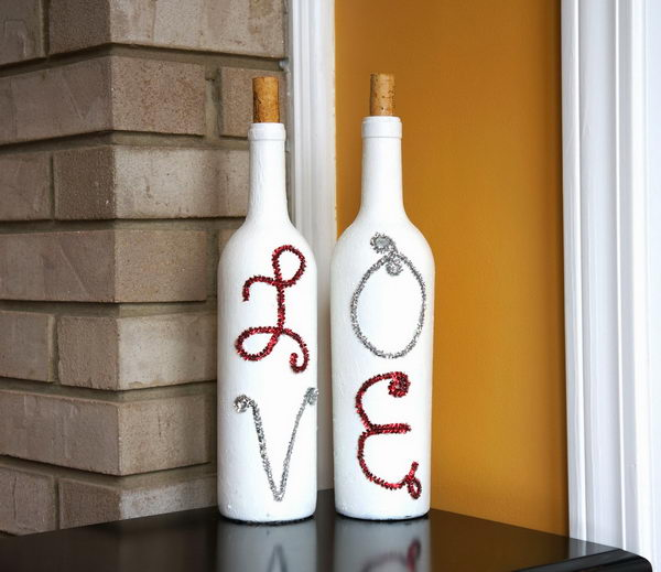 This painted wine bottles with pipe cleaner letters are perfect for Valentine's Day decoration.