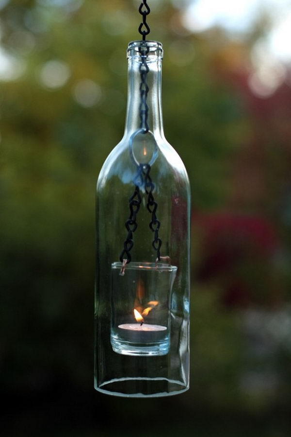 Hanging Wine Bottle Lantern. Put a tea light inside a wine bottle and this hanging lantern is so creative!