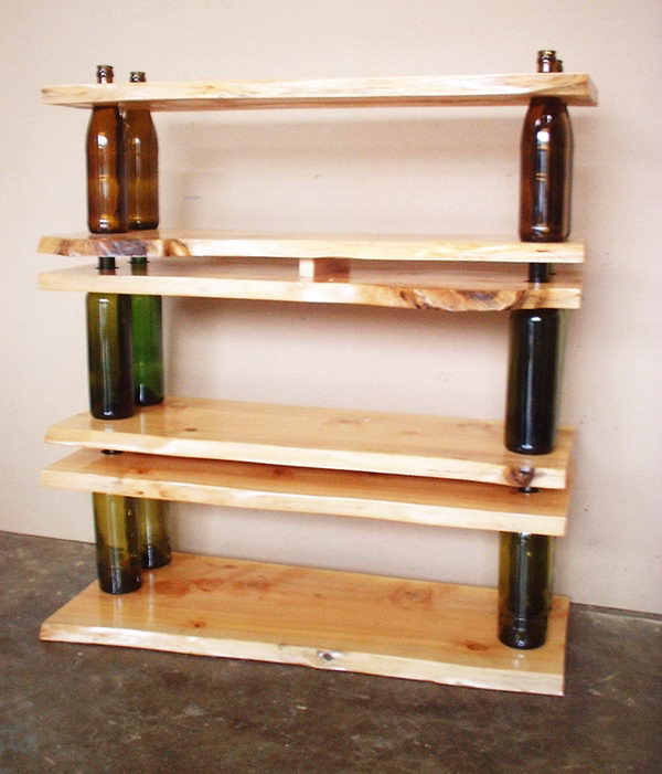 Recycled Shelving Made from Wine Bottles and Wood.