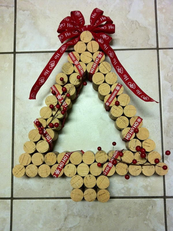 Christmas Tree Shaped Wine Cork Wreath.