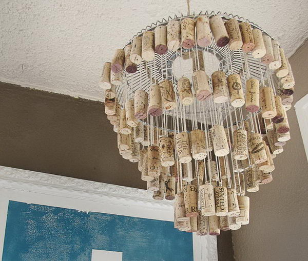 DIY Wine Cork Chandelier.