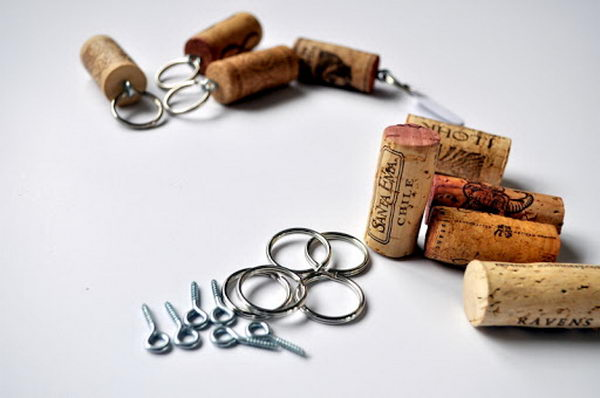 DIY Wine Cork Key Chains.
