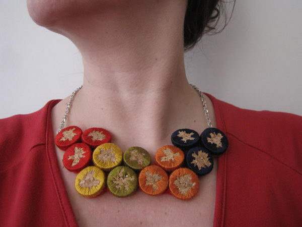 DIY Embroidered Cork Necklace.
