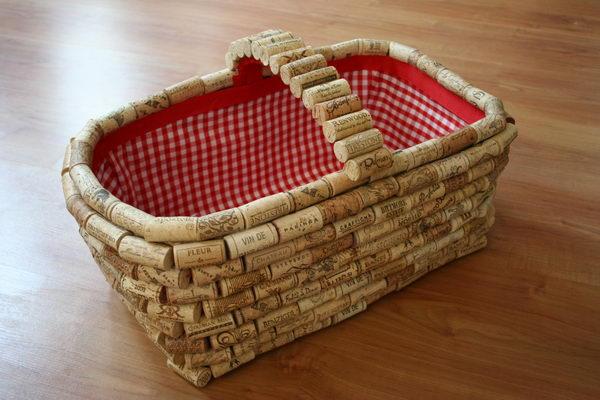 DIY Wine Cork Basket.