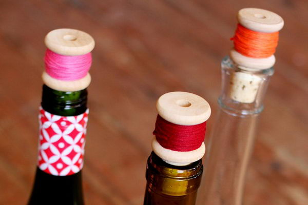 DIY Wine Cork Thread Spool.