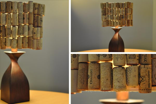 Homemade Wine Cork Lampshade.