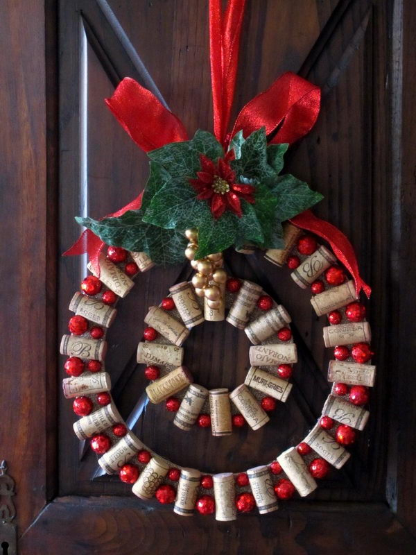 DIY Wine Cork Christmas Wreath.