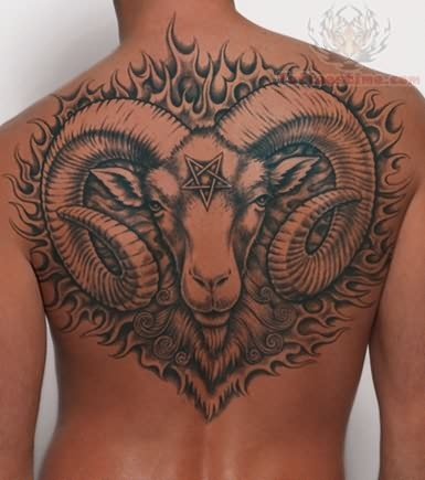 14 aries tattoo on full back
