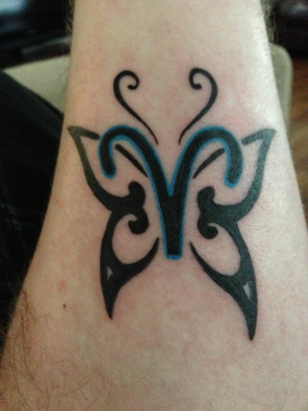 2 aries symbol with butterfly