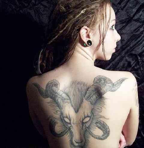 5 aries tattoo on back