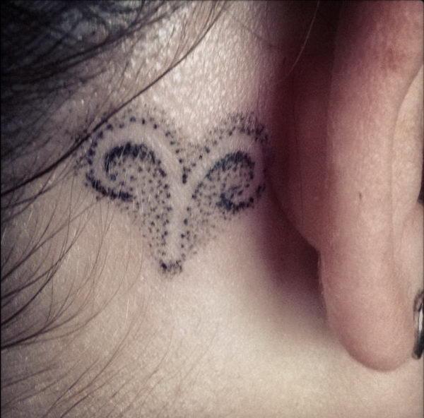 8 aries tattoo behind ear