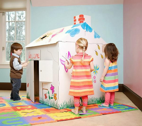 20 Homemade Cardboard Playhouse For Kids