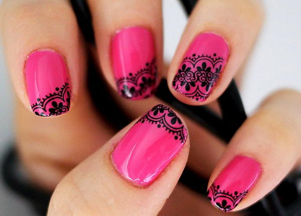 Hot Pink with Black Lace Nail Design,