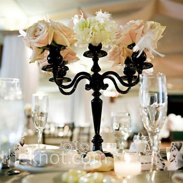 Small Black Candelabras with Feathers, Hydrangeas and Roses.