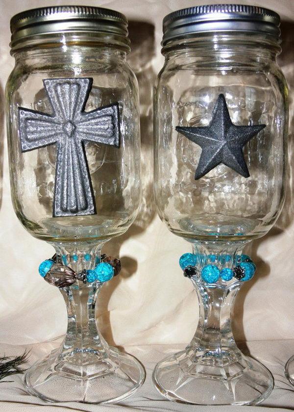 Decorated Mason Jar on Candlestick,