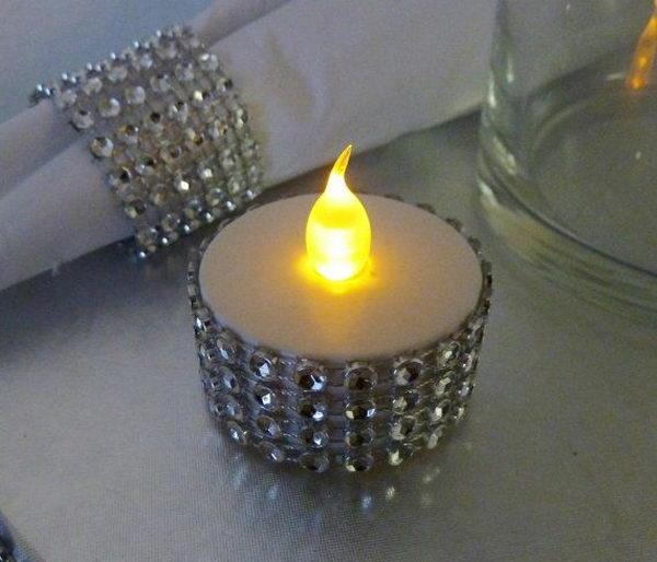 Silver Bling Rhinestone Flickering Flameless Tealight,