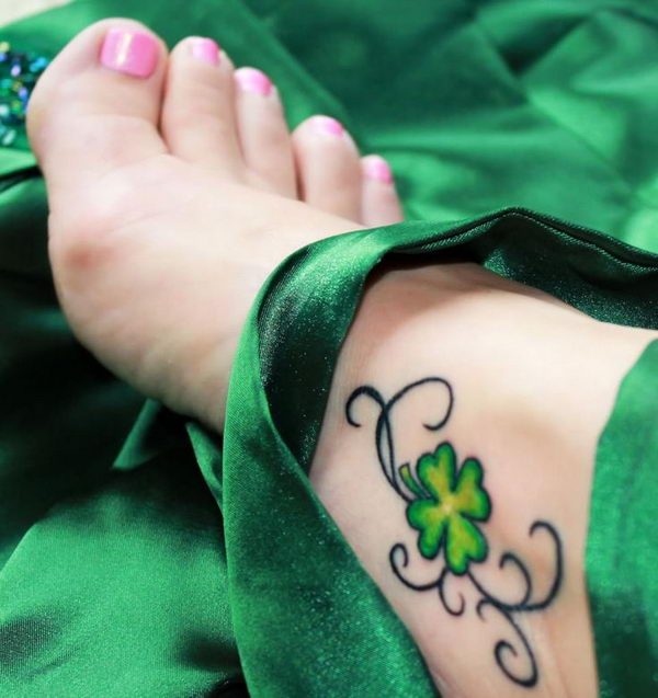 1 four leaf clover foot tattoo