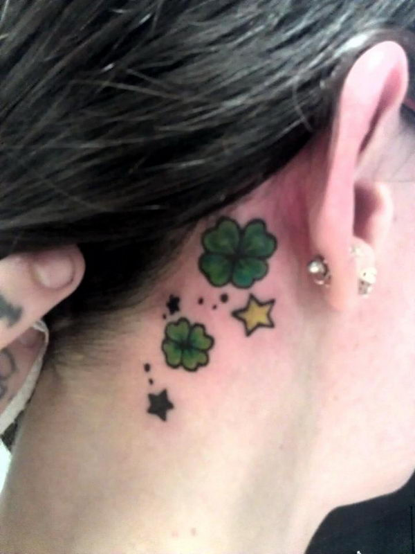 18 shamrocks and stars ear tattoo