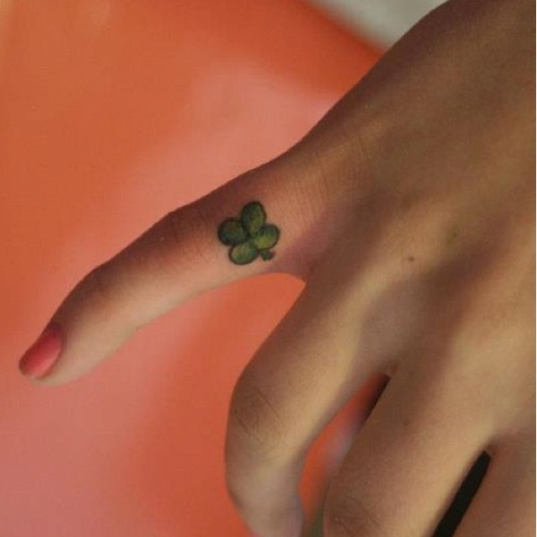 32 green shamrock finger tattoo