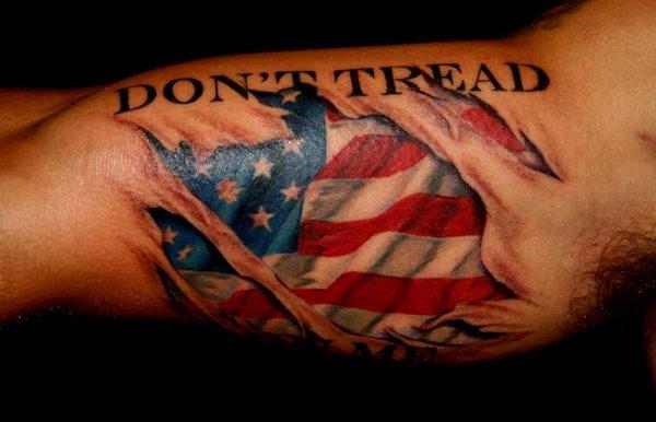 3d american flag on arm