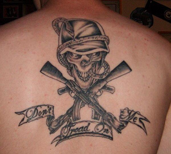 14 skull on guns on back