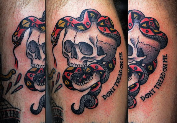 18 dont tread on me with skull and snake
