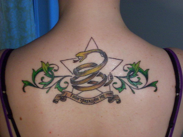 3 dont tread on me tattoo on back