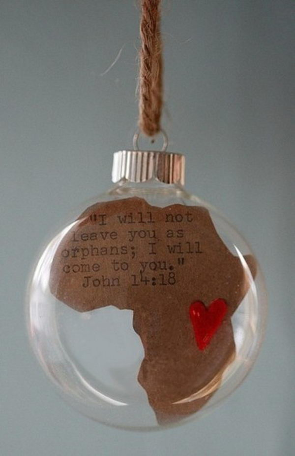 Africa Map Glass Ball Fundraising Idea. This ornament is for a mission trip fundraiser idea, and you can put it on a tree at the church.