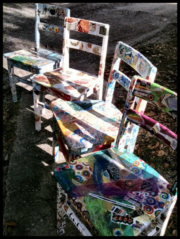Recycled Wooden Chairs Collaged. Cute school fundraising idea for the silent auction at Brookshire Elementary School's fundraiser.