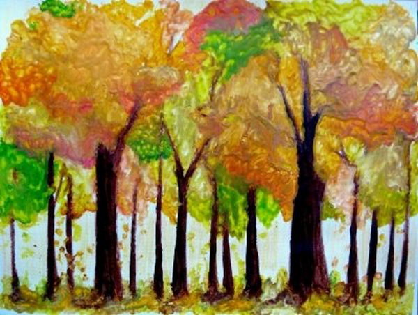 18 melted crayon autumn trees