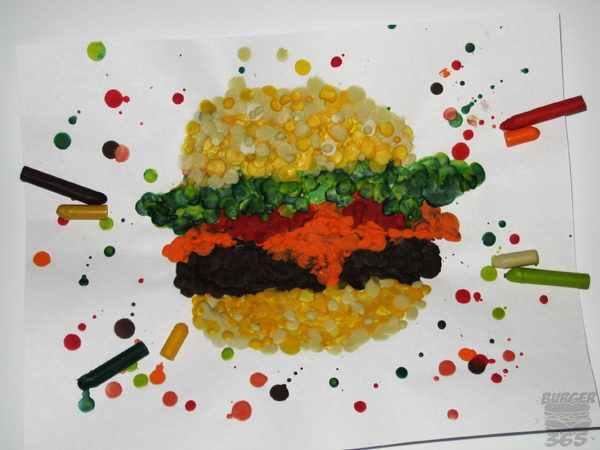 2 melted crayon burger
