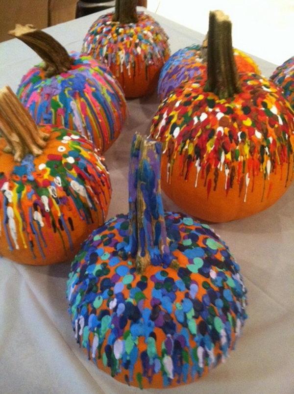 22 melted crayon pumpkin fun