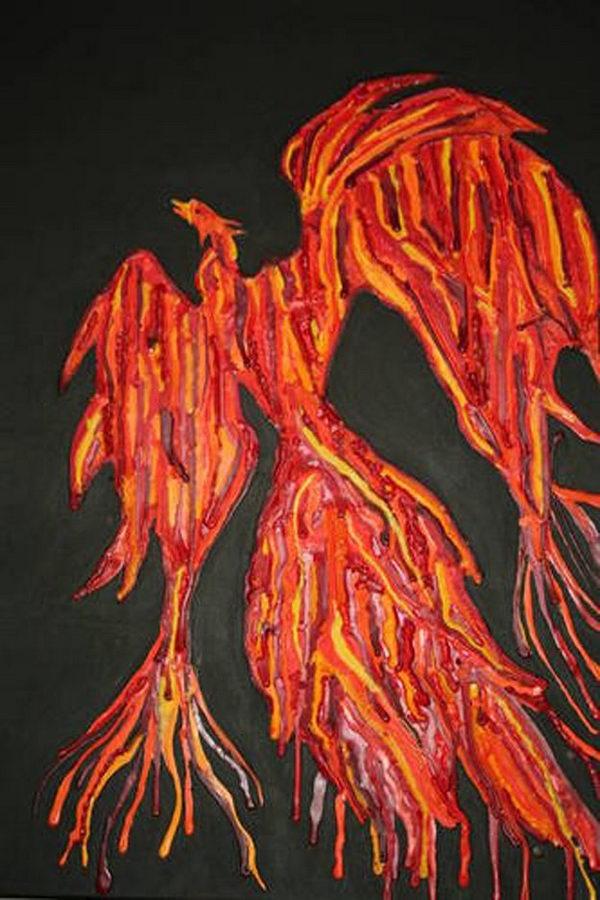 25 phoenix melted crayon art