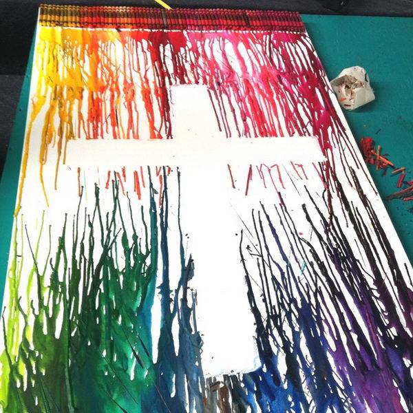 27 melted crayon art cross