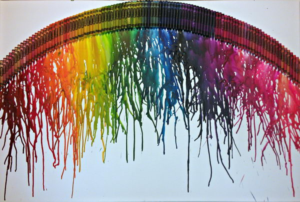 32 rainbow melted crayon art