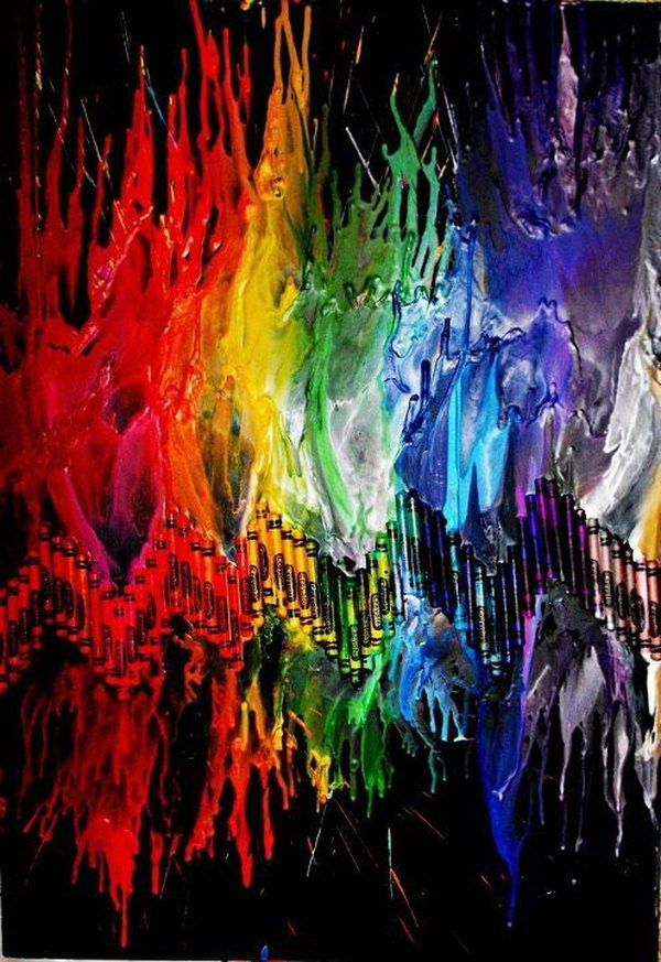 8 rainbow melted crayon art