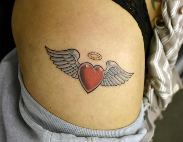 25 heart with angel wings