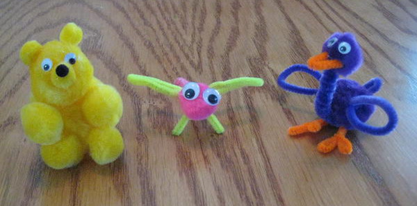 1 teddy bear dragonfly birdie http://hative.com/pipe-cleaner-animals-for-kids/
