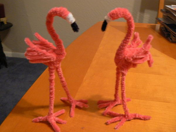 13 pipe cleaner flamingos