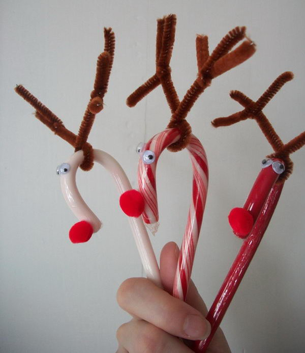 6 candy cane reindeer craft