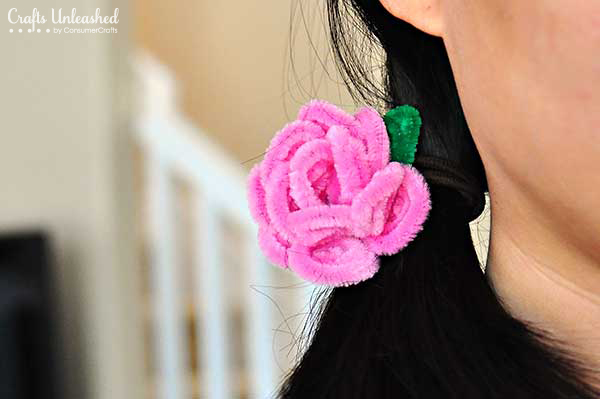 7 diy pipe cleaner rose hair ties
