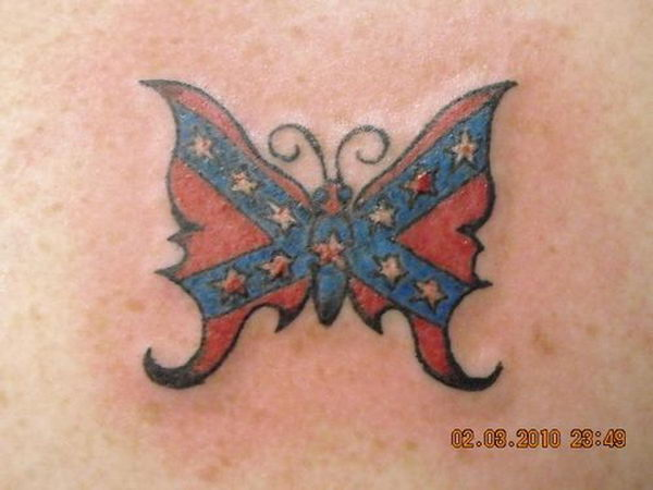 10 rebel flag butterfly