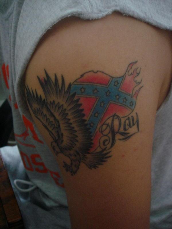 23 rebel flag and eagle on shoulder