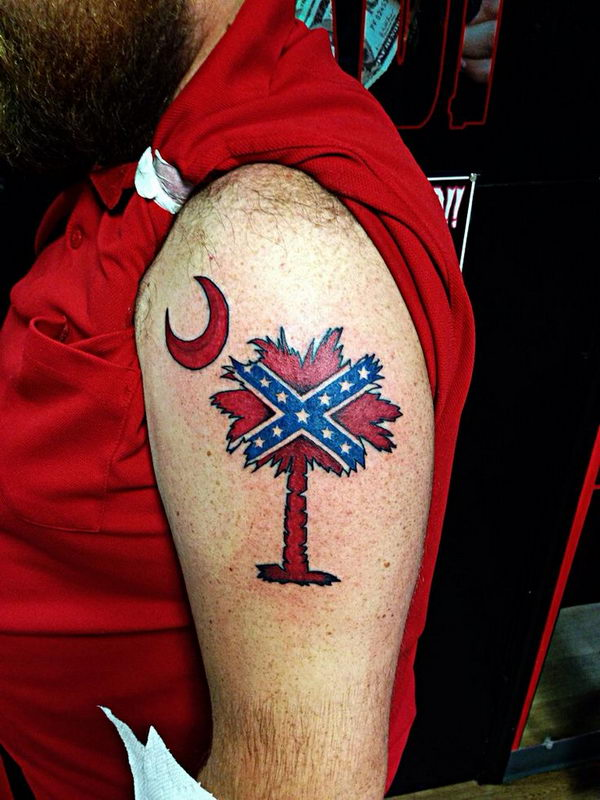 24 rebel flag palmetto tree on shoulder