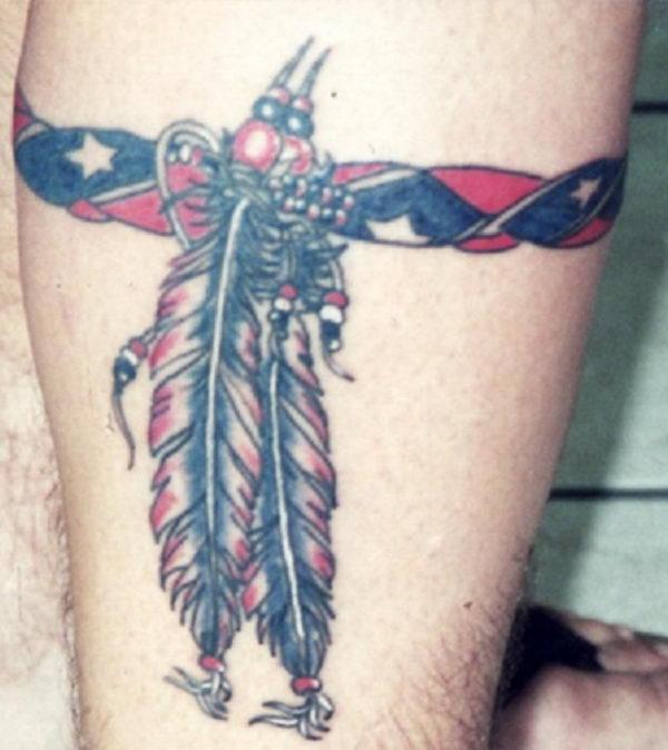 26 rebel flag leg band tattoo