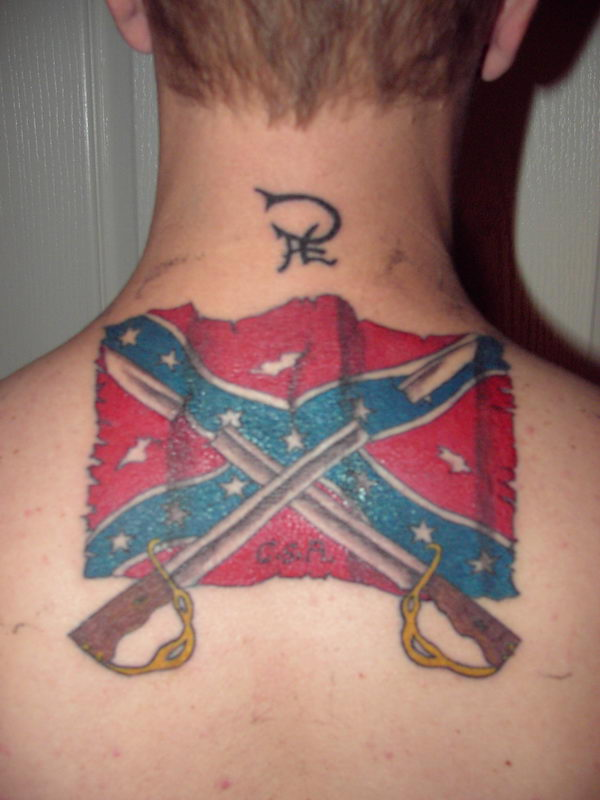 27 flag and swords on back