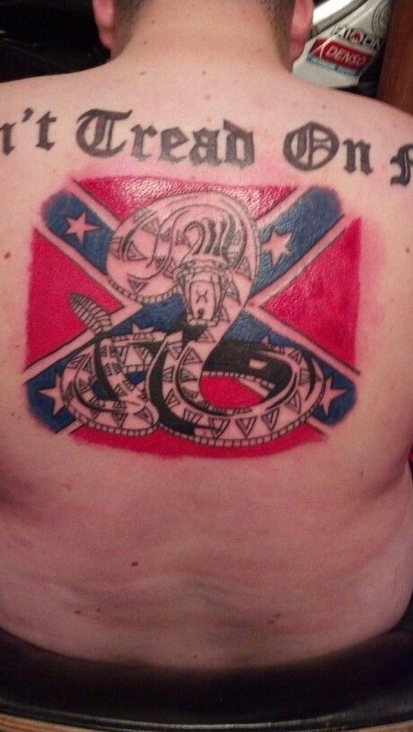 29 rattle snake and rebel flag on back