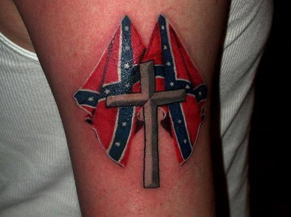 30 rebel flag and cross arm tattoo